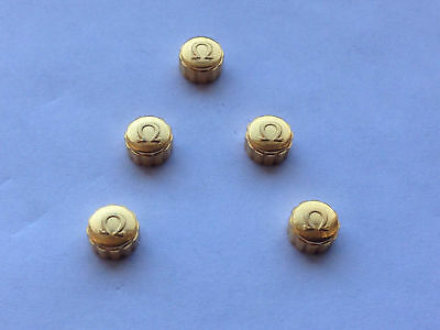 LOT OF 5 X OMEGA YELLOW GOLD PLATED WATCH CROWN KEYS. (5.98mm x 3.65mm) (OC-7)