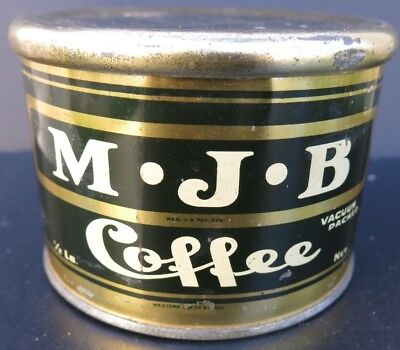 Vintage Mjb Coffee Tin - Early 1/2 Pound Slip Lid