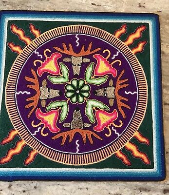 """12"""" Mexican Huichol """"The Magic Circle"""" with Chamanes yarn painting."""