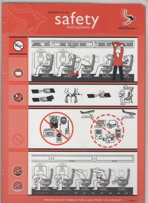 AUSTRALIAN AIRLINES     Boeing  767-338   Safety Card