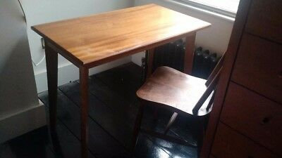 1950s 1960s - vintage solid teak - desk - tapered legs