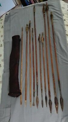 Antique Tribal African Hunting Arrows with leather quiver - African Tribal