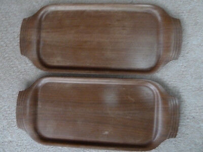 VINTAGE Bentwood WOOD SERVING TRAYS with design on handles MATCHING SET OF TWO