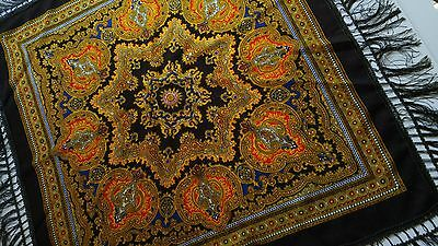 Vintage? Wool Paisley Shawl Hand Screen Print Blue Red Gold Brown Made in Japan