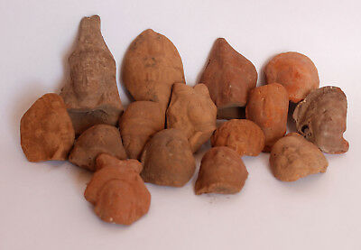 Lot of 15 terracotta Greco Roman small  heads 1st century BC-CE El Fayium