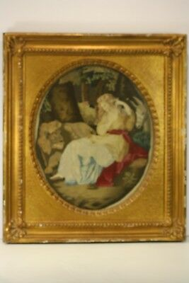Antique 18thc Hand Embroidered Knitted Needle Point Painting Tapestry Framed NR
