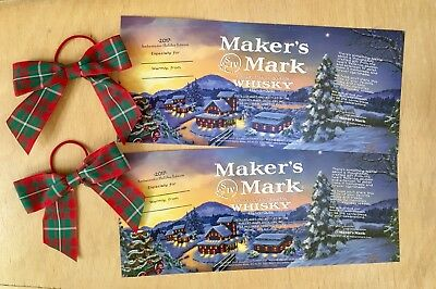 2 Sets Maker's Mark Christmas Holiday Bottle Label Wrap & Plaid Gift Bow 2017