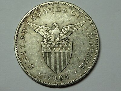 1904 P Philippines One Peso, Rare Philadelphia Mint, Only 11,000 Minted
