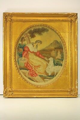 Antique 18thc Hand Painted Embroidered Needle Point Textile Framed Picture NR