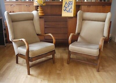 Pair of vintage oak cocktail chairs. 30s 50s  2 retro wing arm chairs