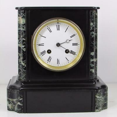 ANTIQUE BLACK SLATE & MARBLE CLOCK French bell striking movement BEAUTIFUL