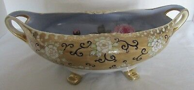 "Hp Nippon Moriage Gold Encrusted Hdld Center Piece Bowl W/ Hp Roses Inside 13""D"