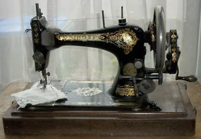 Antique 1895 Victorian Singer Portable Hand-Cranked Sewing Machine