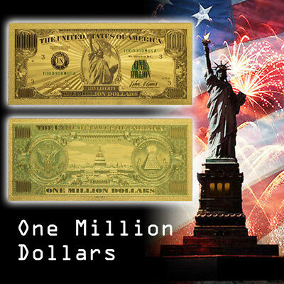 WR Color Gold US $1 Million Dollar Collector Banknote Nice Detail New Year Gift