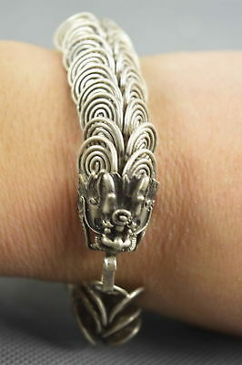 Collectable Handwork Miao Silver Carve Ancient Dragon Bring Lucky Noble Bracelet