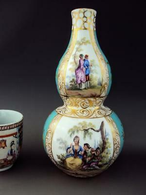 Beautiful Dresden Antique Porcelain Hand Painted Double Gourd Vase