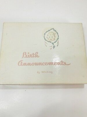 Vintage Baby Girl Birth Announcement Stationary by Whiting retro pink white mcm