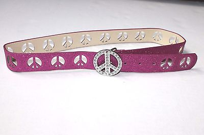 Girls Size Med Pink Glitter Bling Peace Sign Rhinestone Belt Euc