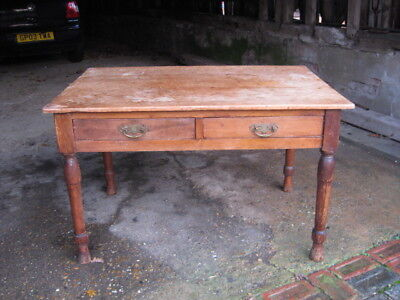 Genuine Vintage Solid Pine Kitchen/side Table Scrub Top Two Drawers