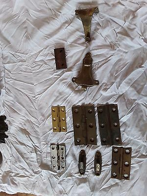 Vintage Eclectic Mix Of Brass & Metal Hinges Table Catch Etc