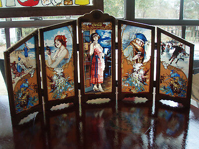 BEAUTIFUL Coca Cola 5 PANEL STAINED GLASS Four Seasons/ U.S. Historical Society