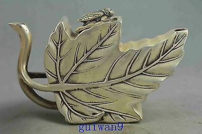 Collectable Handmade Old Miao Silver Carving Swan Shape Leaf Auspicious Teapot