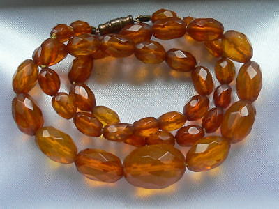 Vintage Antique Graduated Faceted Genuine Tested Cognac Amber Bead Necklace 15g+