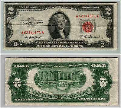 1953A $2 Dollar Bill  Us Note Legal Tender Paper Money Currency Red Seal P805