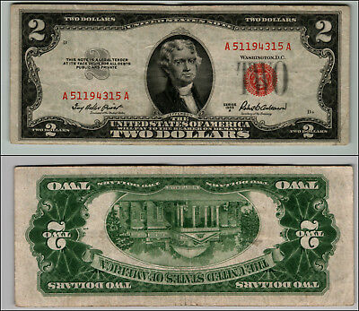 1953A $2 Dollar Bill Old Us Note Legal Tender Paper Money Currency Red Seal P16
