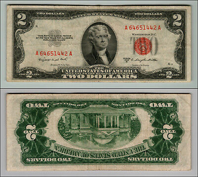 1953B $2 Dollar Bill Old Us Note Legal Tender Paper Money Currency Red Seal Z569