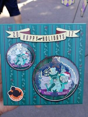 Disneyland Haunted Mansion Hatbox Ghost AP Ornament & Pin Set LE 500