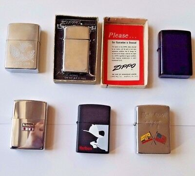 Vintage lot of 6 Zippo lighters.