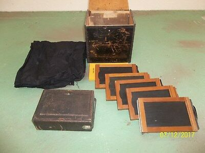Old Camera with Black Wooden Box