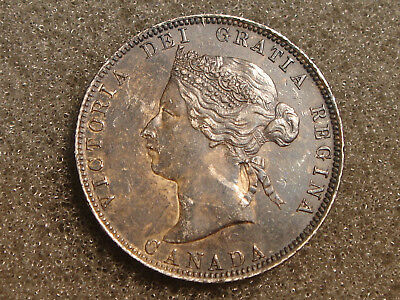 1872 H Canada 25 Cents Quarter Queen Victoria AU-Unc Toned