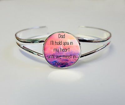 Dad I'll Hold You In My Heart Silver Plated Bracelet Bangle Keepsake Gift L326