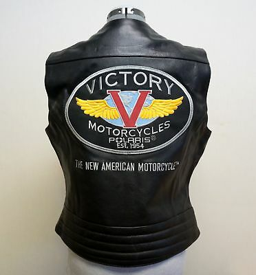 Victory Motorcycles Women's Leather Classic Logo Vest - Medium - NEW / RX26/30