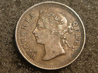 1888 Hong Kong China 5 Five Cents Queen Victoria XF