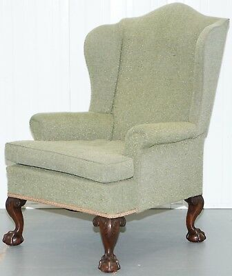 Georgian Irish Style Victorian Wingback Armchair Four Claw & Ball Carved Legs