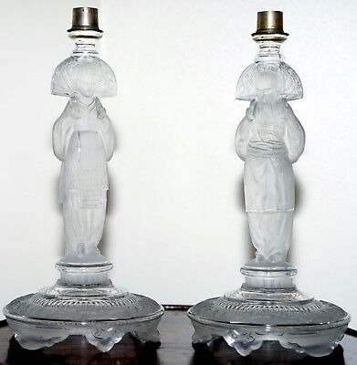 Rare Pair Of Antique Glass 1920's Chinese Nobleman & Lady Candlestick Holders