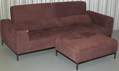 Nubuck Velvet Leather Recliner 4 Seater Sofa & Footstool Very Nice Comfortable