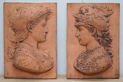 Pair Of Stunning Renaissance Style Plaques Of A King And Queen Lovely Detail