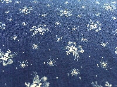 "LAST ONE! Antique Indigo Fabric Blue and White Cotton Floral 1800's 24"" W"