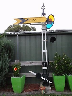 complete distant signal  2 position victorian railways finial enamel sign vr
