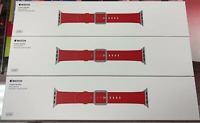 Apple Watch 42mm Classic Buckle (Red) Leather Band