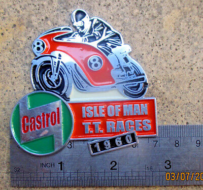 VINTAGE ISLE OF MAN TT RACE BADGE 1960 CASTROL oil SIGNs CAN VESPA CAFE RACER SS
