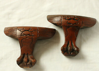 Antique Hand Carved Wood Feet From Asian Cabinet