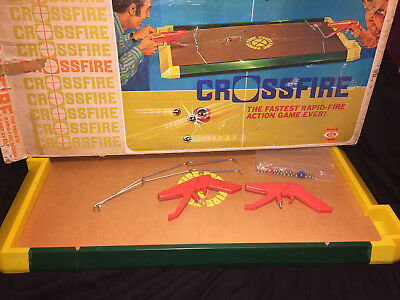 Vintage Crossfire 1971 Ideal Toy Board Game Rapid Fire Tabletop Shooter