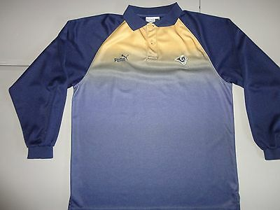 Rare Blended Colors LA Rams PUMA NFL Long Sleeve Embroided Polo Shirt Men L NICE