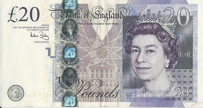 Uk British 20 Pound Banknote Real Currency