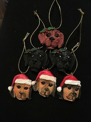 Lot Of 6 Dog Head Ornaments, 1 Inch Resin